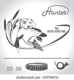 Hunting logo hunting dog with a wild duck in his teeth and design elements. The outfit of the hunter.3