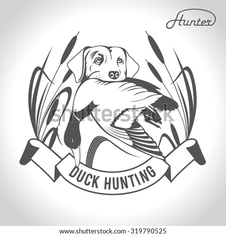 Hunting logo hunting dog with a wild duck in his teeth and design elements. The outfit of the hunter. 2