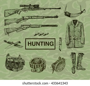 Hunting and outdoor equipment. Set of accessories. Vector Design Elements Vintage Style. Hand drawn doodle collection, engraving style. Camouflage background