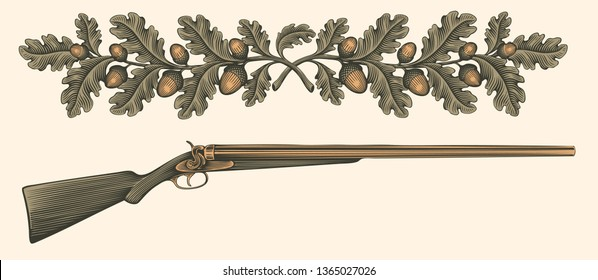 Hunting rifle. Hand drawn engraving. Editable vector vintage illustration. Isolated on light background. 8 EPS