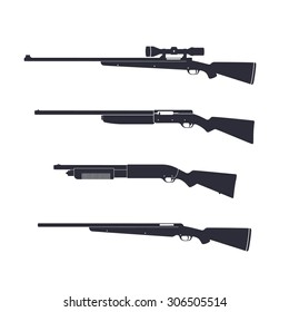 Hunting rifles, shotguns, carabine, with optic sight, vector illustration, eps10, easy to edit