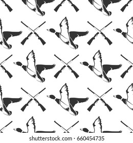 Hunting seamless pattern with guns and ducks. Hunting background vector illustration