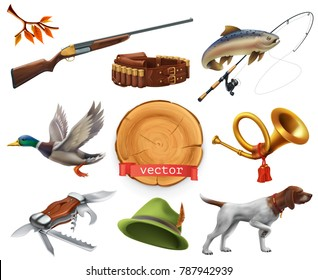 Hunting set. Shotgun, dog, duck, fishing, horn, hat, knife. 3d vector icon