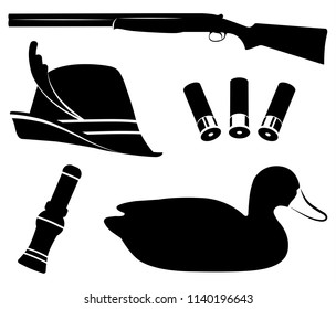 Hunting set vector illustration. Duck hunting. Shotgun, duck call, decoys, hat and shell