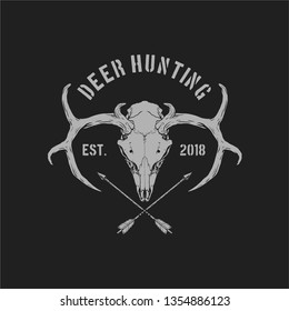 hunting skull deer with cross arrow drawing line art vector illustration badge design for logo and clothing
