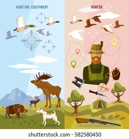 Hunting sport banners, hunter with rifle and dog in forest, duck hunting ammunition binoculars, hunting knife vector