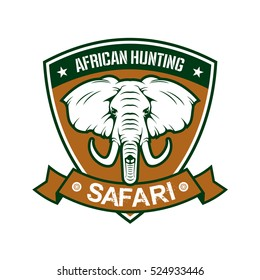 Hunting sport club sign. African safari hunter sport badge icon with shield, elephant tusk, ribbon. Wild animals hunt adventure.