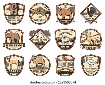 Hunting sport heraldic icons of hunter guns, animals and birds. Deer buck, duck and bear, fox, wolf and ox, goose, bison and antelope, jaguar, pheasant and grouse vector shields with huntsman weapons