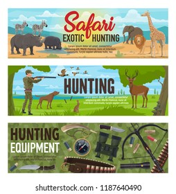 Hunting sport, hunter equipment, african safari and forest animals. Huntsman hunting to duck, deer and hare, elephant, lion and giraffe. Rifle, weapon and compass, knife and binoculars. Vector design