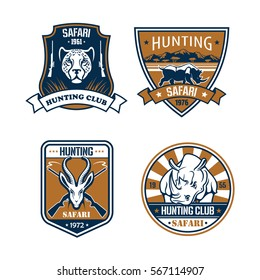 Hunting sport icons. Hunter safari adventure symbols with wild african savanna animals cheetah or leopard, hippo and rhino, gazelle or saiga antelope. Vector signs with rifle guns for hunt badges.