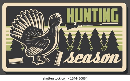 Hunting sport open season, wild wood grouse or capercaillie bird. Vector vintage design of hunting bird. Hunt adventure and open season trophy, outdoor activity
