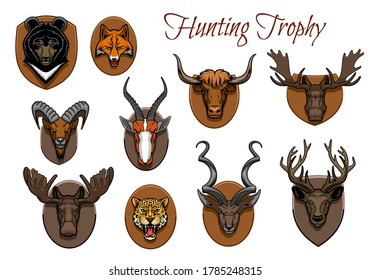 Hunting sport trophy, animal heads and antlers on wall wood plaque, vector icons. Hunter trophy animal heads of deer, moose stag and reindeer, bear grizzly and fox, safari cheetah panther and antelope