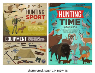 Hunting sport vector design of hunter equipment, animals and birds. Cartoon huntsman with dog and rifle, duck, bear and wolf, deer, shotgun and knife, goose, quail and fox, pheasant and buffalo
