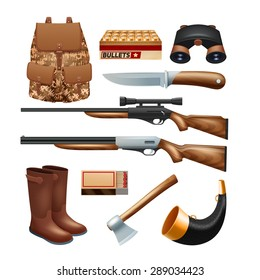 Hunting tackle and equipment icons set with rifles knives and survival kit isolated vector illustration