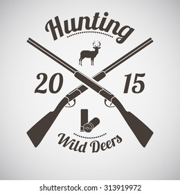 Hunting Vintage Emblem. Cross Hunting Gun With Ammo and Deer Silhouette. Suitable for Advertising, Hunt Equipment, Club And Other Use. Dark Brown Retro Style.  Vector Illustration.