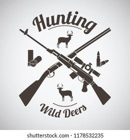 Hunting Vintage Emblem. Crossed Hunting Gun And Rifle With Ammo and Deers Silhouettes.  Dark Brown Retro Style.  Vector Illustration.