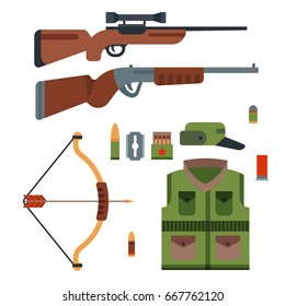 Hunting weapons and symbols design elements. flat style hunter forest wild animals vector illustration.