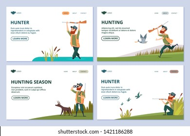 Hunting web pages. Hunter with gun, dog, ducks vector banners. Hunting to duck, man with shotgun illustration