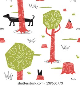 hunting wild rabbits with a dog vector seamless background