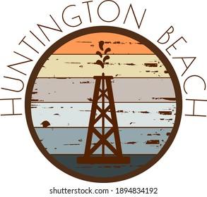 Huntington beach oil derrick grunge label