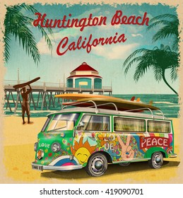 Huntington Beach,California retro poster.