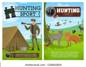 Huntsman, birds and animals, hunting sport. Fox and wolf, duck and grouse, blackcock and badger, elk and deer, wood grouse and badger, sable and marten. Hunter with rifle, binocular and bandolier