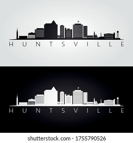 Huntsville, Alabama skyline and landmarks silhouette, black and white design, vector illustration.