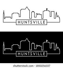 Huntsville skyline. Linear style. Editable vector file.