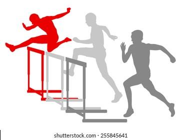 Hurdle race man barrier running vector background winner overcoming difficulties concept