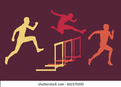 Hurdle race man jumping over obstacle retro color vector background