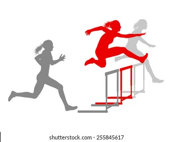 Hurdle race woman barrier running vector background winner overcoming difficulties concept