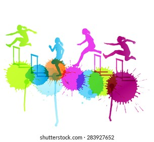 Hurdle race woman barrier running vector background winner overcoming difficulties concept with color splashes