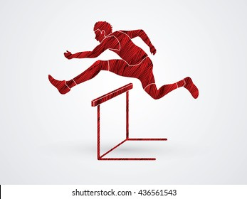 Hurdler hurdling designed using red grunge brush graphic vector.