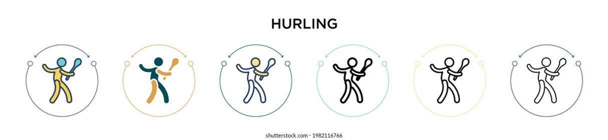 Hurling icon in filled, thin line, outline and stroke style. Vector illustration of two colored and black hurling vector icons designs can be used for mobile, ui, web