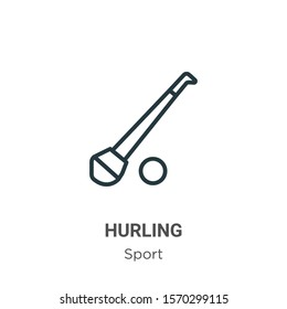 Hurling outline vector icon. Thin line black hurling icon, flat vector simple element illustration from editable sport concept isolated on white background