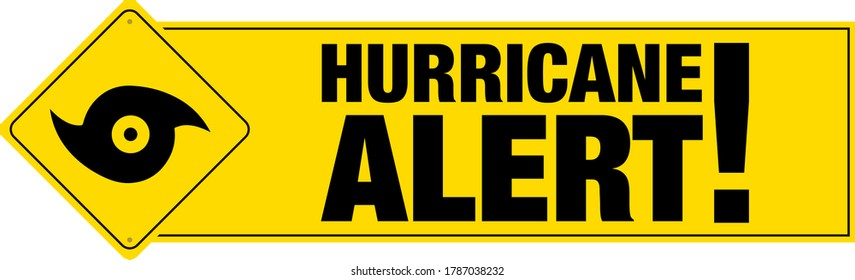 Hurricane alert banner with sign.