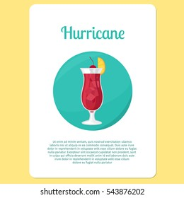 Hurricane cocktail menu item or sticker. Party drink in circle icon. Vector illustration