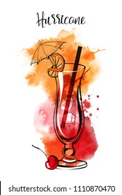 Hurricane cocktail. Watercolor illustration of cocktails. Hand drawn sketch