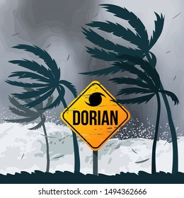 Hurricane Dorian in the USA. Tornado in America on the ocean against the backdrop of the beach and palm trees. vector illustration