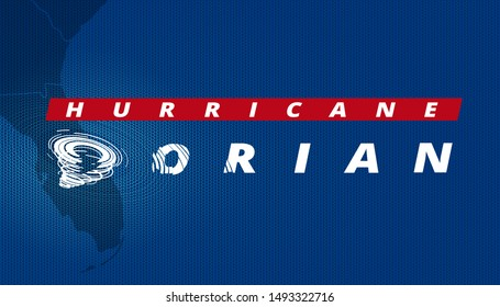 Hurricane Dorian. White lettering with a character 'D' in the shape of tornado vortex. Template of headliner for breaking news about approaching tropical storm. Textured blue screen of any TV channel