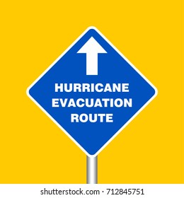 Hurricane Evacuation Route Sign Board, Hurricane indication. Graphic banner of hurricane warning. Icon, sign, symbol, indication of the hurricane, vortex, tornado