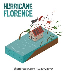 Hurricane Florence isometric damage vector illustration