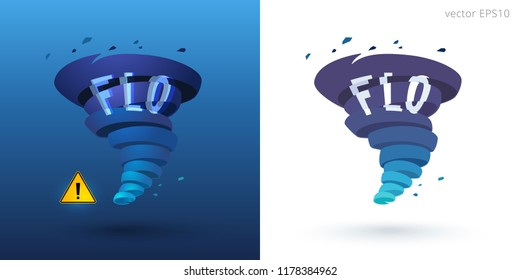 Hurricane Florence. Two vector icons of rotating tornado with distorted text 'Flo' on the vortex body. Smoky, blue and aquamarine gradient. Alert sign for breaking news and online weather forecasts.