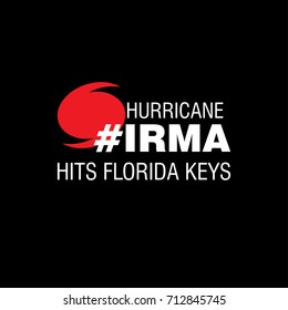 Hurricane Irma Hits Florida Keys. Hurricane indication. Graphic banner of hurricane warning. Icon, sign, symbol, indication of the hurricane, vortex, tornado