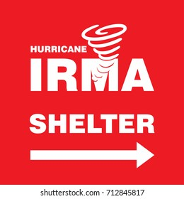 Hurricane Irma Shelter Right Side Red Banner. Hurricane indication. Graphic banner of hurricane warning. Icon, sign, symbol, indication of the hurricane, vortex, tornado
