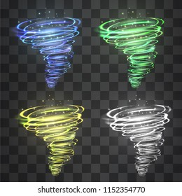 Hurricane light effect set. Vector glowing tornado, swirling storm cone of glitter covered shining flames on transparent background. Confetti blizzard flame cyclone funnel,  neon magical illumination.