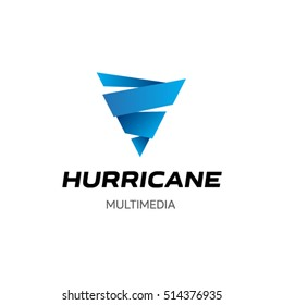 Hurricane Multimedia is a business vector logo template. Creative whirlwind logo idea for media, finance or industrial company.