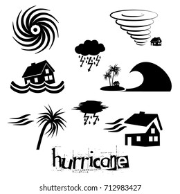 hurricane natural disaster problem icons set eps10