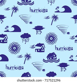 hurricane natural disaster problem icons blue pattern eps10