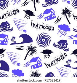 hurricane natural disaster problem icons seamless pattern eps10